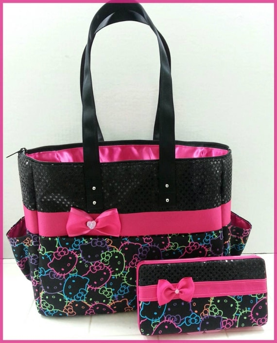 hello kitty diaper bag black sequin hot pink by bagsbymaritza. Black Bedroom Furniture Sets. Home Design Ideas