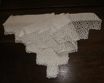 Four Circa 30's Vintage White Crochet Lace Panels for Crafting