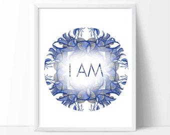 Downloadable Art Print  Blue Typography art, inspirational art, abstract word art, room decor, downloadable digital art print