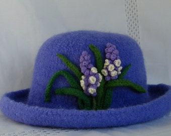 Hand Knit Wool and Mohair Felt Hat in Periwinkle with Grape Hyacinths