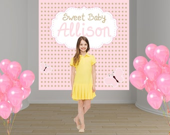 Baby Pink Party Personalized Photo Backdrop - Baby Shower Party Backdrop Birthday- Sweet 16th Photo Backdrop, 1st Birthday Backdrop
