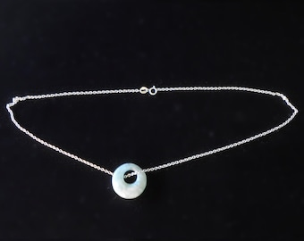 Jade Circle Pendant with Sterling Silver Italian Chain