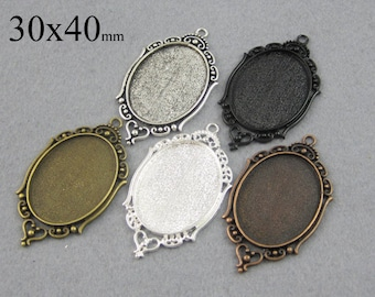 25 Pieces 30x40mm Filigree Oval Bezel Settings, Victorian Pendant Trays, 30x40mm Cabochon Settings, Filigree Cameo Settings