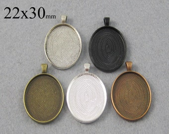 25 Pieces 22x30mm Oval Pendant Tray, Bezel Setting, 22x30 Cabochon Settings  - Silver, Bronze, Copper, Antique Silver, Black