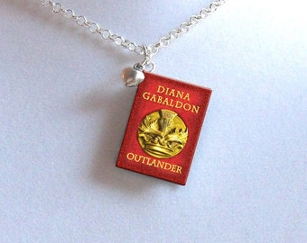 Outlander with Tiny Heart Charm - Miniature Book Necklace