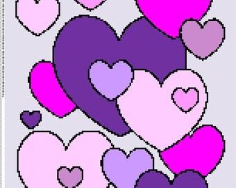 Hearts Crochet Graphghan Pattern