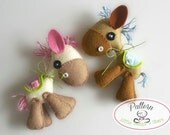 Horsy PDF sewing pattern-DIY-Felt Horse toy pattern-Nursery decor-Instant download-Horse ornament-Baby's mobile toy-Cute donkey-Kids present