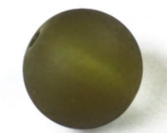 Czech Glass Sea Glass 8mm Road - Olivine - Pack 12