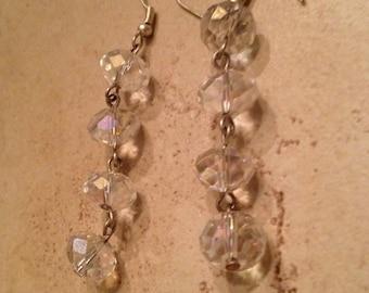 Vintage Crystal Earrings Dangle Costume Jewelry