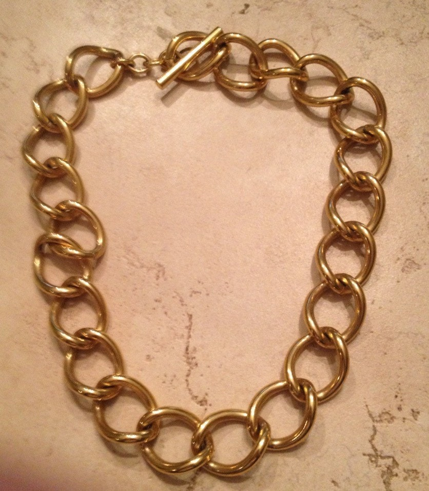 vintage monet necklace gold link costume jewelry