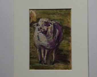 A Sheep in the field. 8 in by 10 in pastel painting with a white mat.