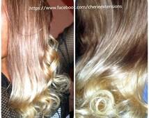 Balayage Dip Dye 8A Remy Human Hair Halo, Ash Brown Colour 8  Ash Blonde Colour   Balayage Dip Dye Ombre available