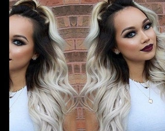 """READY TO SHIP Remy Human Double Weft Clip In Hair Extensions -16"""" 110g - #1B Off Black into Silver Grey"""
