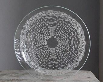 Soviet Vintage Glass Bowl Tray Platter Plate Glass Tableware 1970-1980