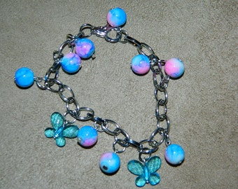 Butterflys and Beads Charm Bracelet