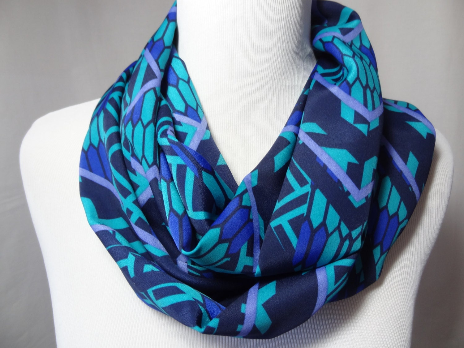 aztec navy and teal scarfnavy scarf teal by kathyscreations25