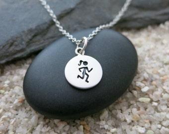 Runner Necklace, Sterling Silver Runner Charm, Sports Jewelry, Gift for Runner