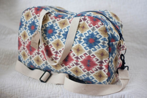 Boston Diaper Bag - Ikat Red, Gold, and Blue