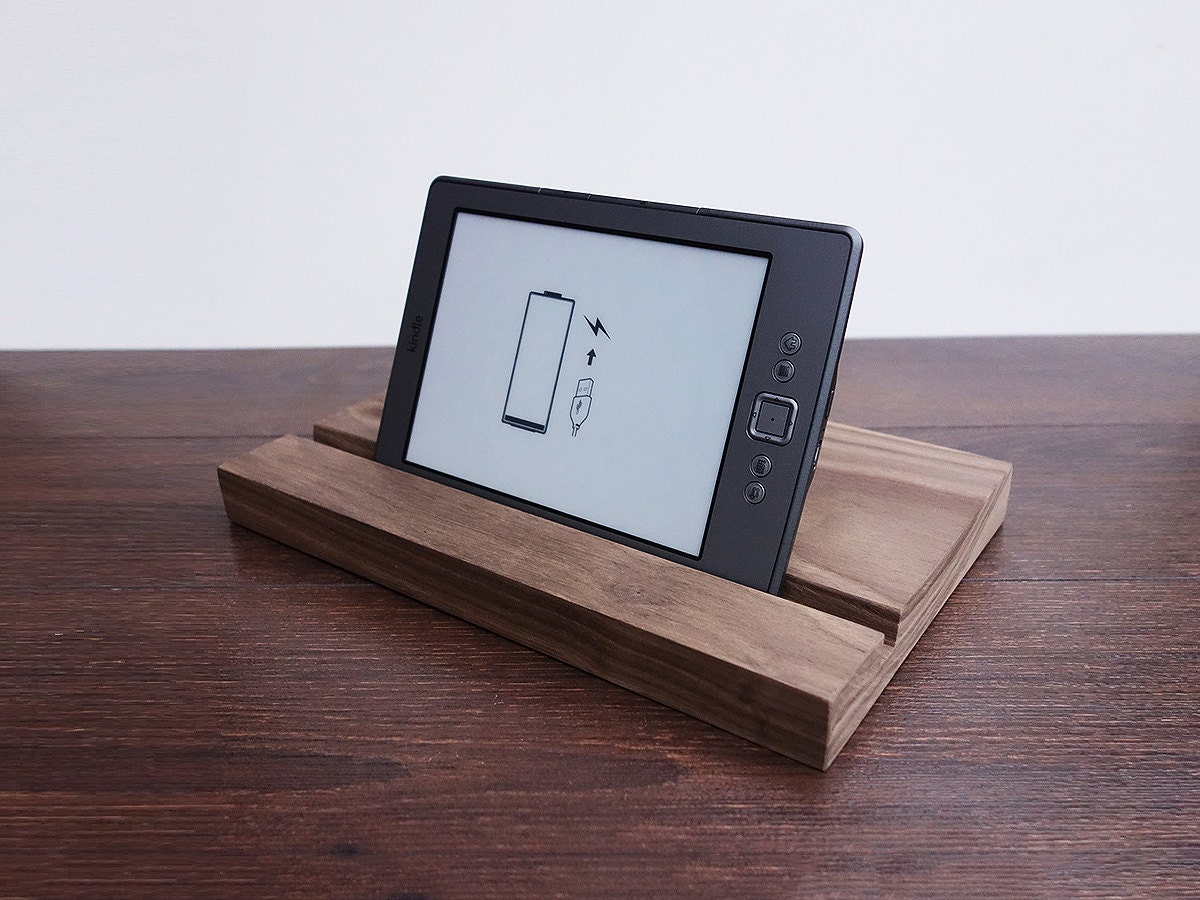 IPad Stand. Wooden IPad Stand. Dark Walnut IPad Dock. By Magowood. Full resolution‎  portrait, nominally Width 1200 Height 900 pixels, portrait with #50617B.