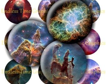 Universe Bottle Cap Images ~*DIGITAL*~ 1 Inch Cabochon Image. 4x6 Digital Collage Sheet. Resin Pendant & Badge Reel Images- Nebula Image 237
