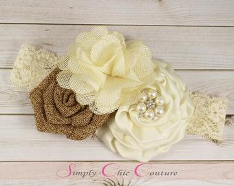 Brown & Ivory Rustic Burlap Headband, Burlap Lace Headband, Flower Girl Headpiece, Wedding Headdress, Country Headband, Burlap Headband