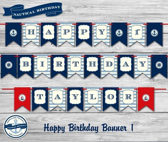 Nautical Birthday Party Theme Personalized 1st Birthday