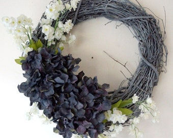 Spring Wreath Summer Flowers Blue Grey Hydrangea Shabby Chic Wreath