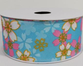 "1 1/2"" Grosgrain Sakura Flower Ribbon - Turquoise - 10 Yards"