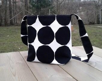Modern cross body bag made from Marimekko fabric, messenger canvas shoulder bag, magnetic closure, Scandinavian design, black  and white