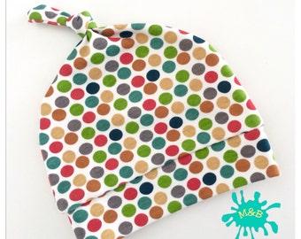 baby hat, newborn hat, organic baby clothes, baby girl hat, baby boy hat, spots, polka dots, baby clothing, newborn gift, baby gift