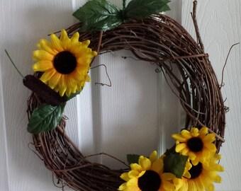 Sunflower Wreath / Late Summer Wreath / Fall Wreath / Front Door Wreath / Fall Decor