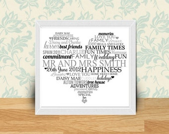 Wedding Heart Couple Typography Framed Word Art Bespoke Gift Personalized Gift
