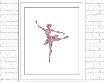 Pink Glitter Ballerina Print | 8x10 Printable Art Print | Girl Wall Art | Girl Printable | Nursery Subway Art | Instant Download Printable