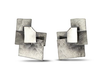 Five Facets oxidized silver earrings - large size