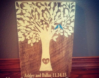 Love Birds in Tree Sign - Personalized Wedding Date Sign - Rustic Barn Board Sign
