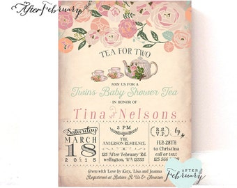 Twins Baby Shower Invitation Tea Party Invite - Tea for Two - Vintage Peach Background - Tea Party Invite - Printable OR Printed No.888BABY