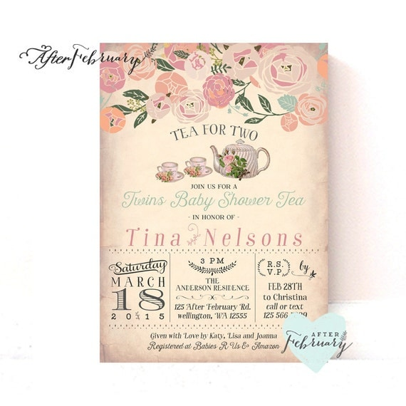 twins baby shower invitation tea party invite tea for two, Baby shower invitation