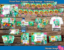 Frozen Fever Birthday Party Package, Printable Party Kit Customized with name - Invitation Banner Food Tent Labels Wrappers - Digital File