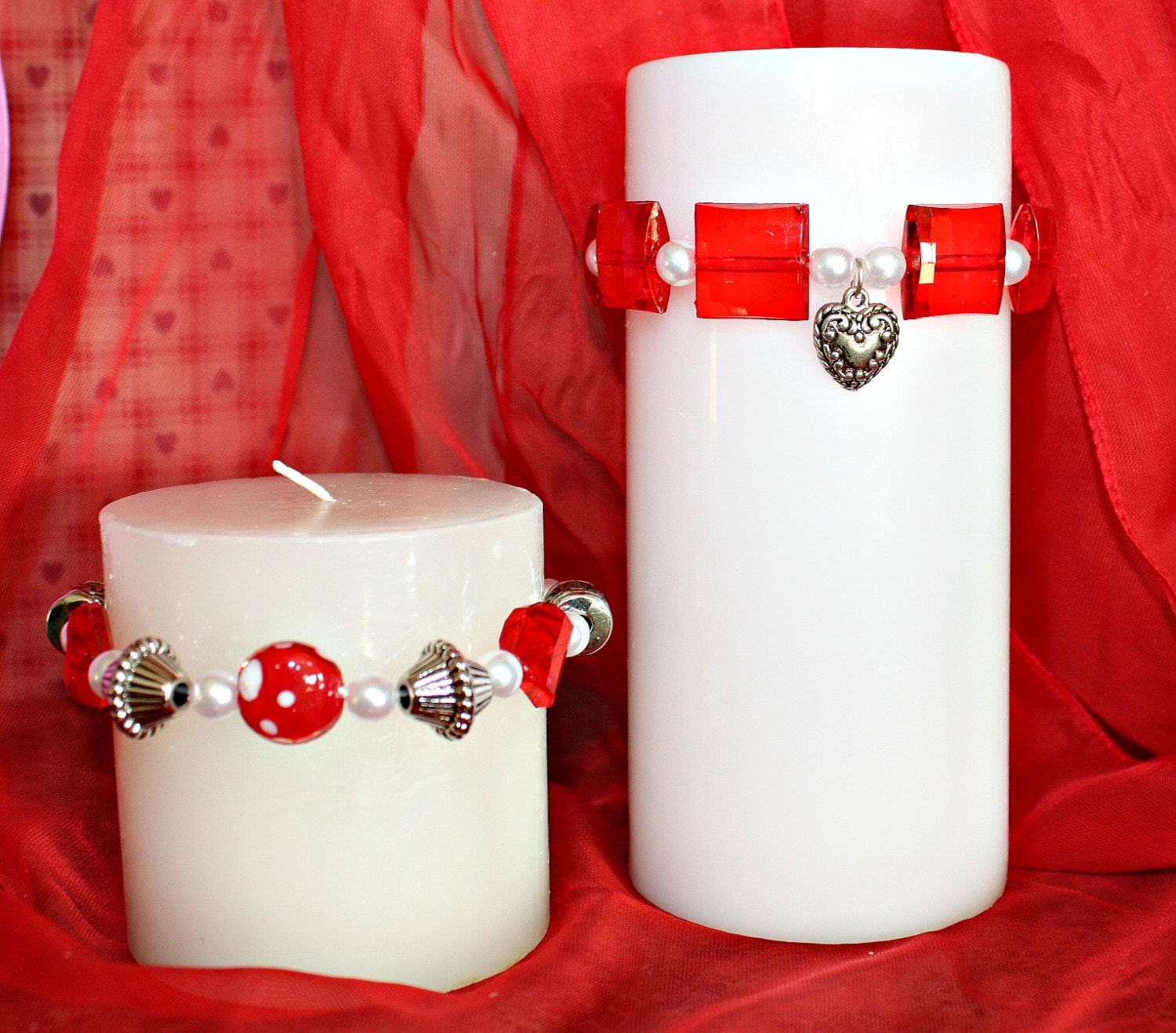 beaded candle ring red candle ring valentine decor candle. Black Bedroom Furniture Sets. Home Design Ideas