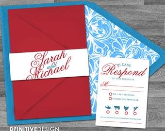 Fancy Script Customized Blue/Teal/Red/White Wedding Invitation set