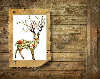 Floreal Deer - Temporary Tattoo