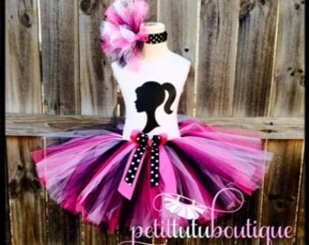 Silhoutte Barbie Birthday Tutu set any size available 12m to 10/12y FREE Headband
