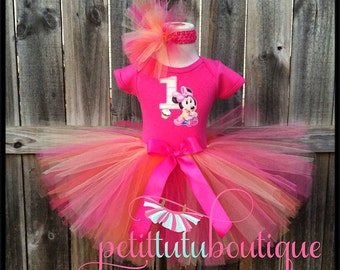 First Birthday Baby Minnie Mouse Tutu set any size available 12m to 8y FREE Headband