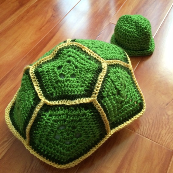 Free Crochet Pattern Turtle Photo Prop : Baby Turtle Prop Set Crochet Turtle Shell and Hat For