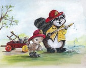 "8 x 10  Print of Original Art Titled ""Little Firemen"" by Pamela Price is a Perfect Addition to a Kids Room or Nursery."