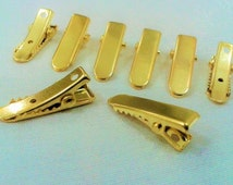 20 Pcs Gold Tone 7x22 mm Alligator Metal Hair Clips , Connector
