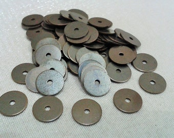 200 Pcs Antique Bronze  8 mm Round Disc , Stamping Tag