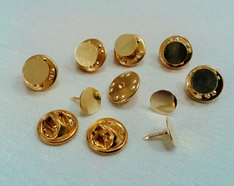 20 Pcs 8 mm Gold Tone Color Tie Tack Blanks Pin Findings