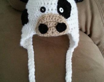 Lil moo cow crochet baby hat