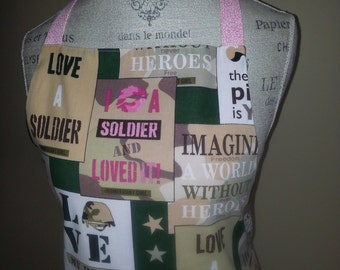 On Sale- I Kissed a Soldier and Loved It --  Military Style Apron with Pink Pleats